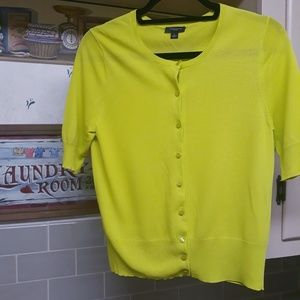 ANN TAYLOR | Neon Half Sleeve Button Up Cardigan